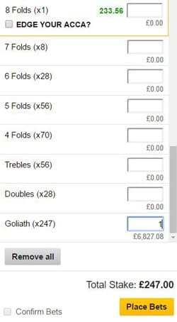 Goliath bet on a betting slip