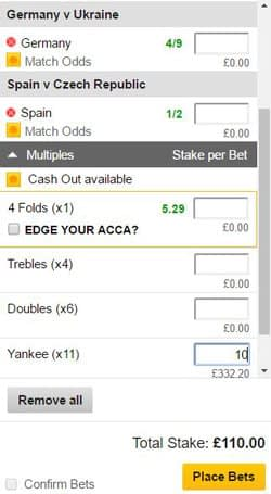 Yankee bet on a betting slip