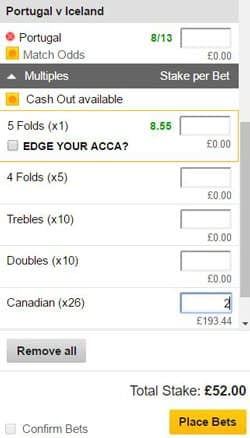 Canadian bet on a betting slip