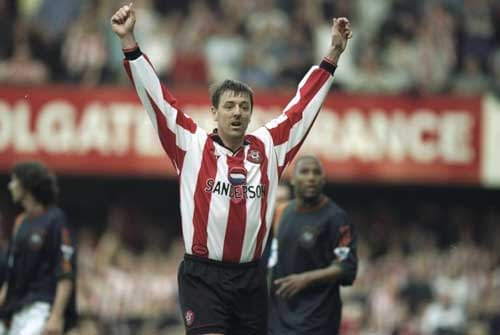 Matt Le Tissier celebrates scoring for Southampton.