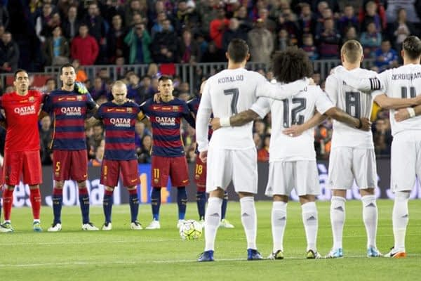 Barcelona and Real Madrid line up ahead of the El Clasico.