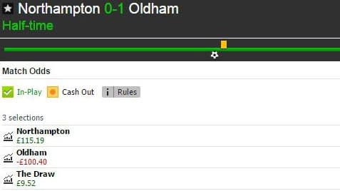 Betfair Match Odds market for Northampton Town v Oldham Athletic at half-time