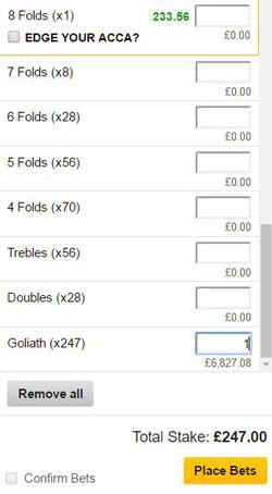 Goliath bet on a betting slip