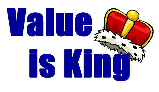 Value is King with a crown logo
