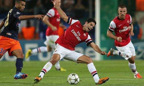 Arsenal v Montpellier in the Champions League