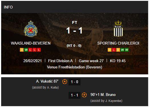 Waasland-Beveren v Sporting Charleroi match result