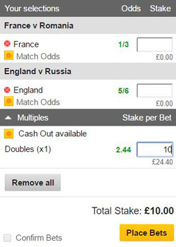 Double bet on a betting slip