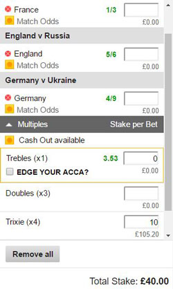 Trixie bet on a betting slip