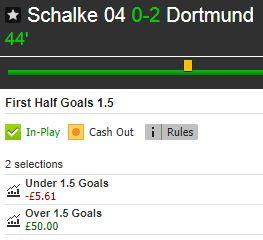 Live Stats Module example (Schalke v Dortmund): Betfair profit