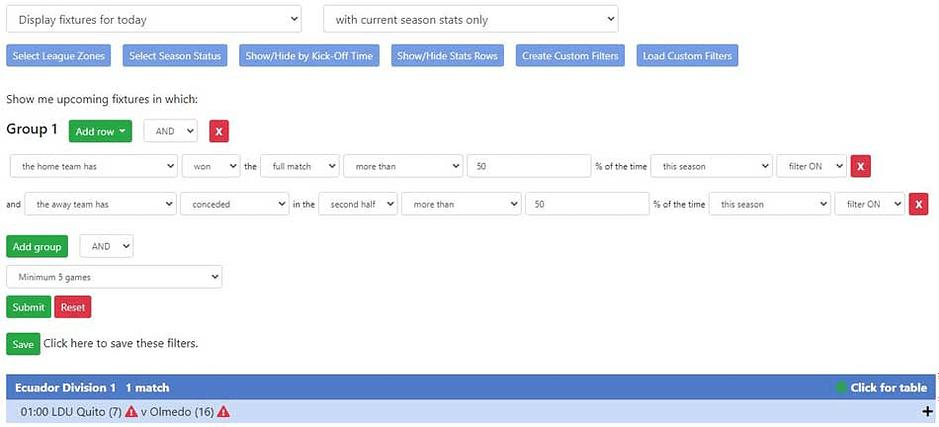 Example of a Team Stats Custom Filter
