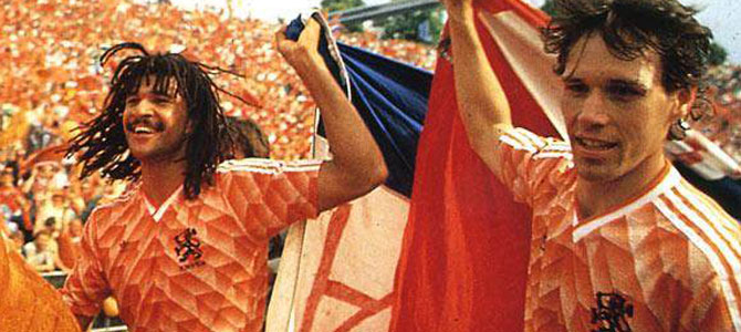Dutch football players Ruud Gullit and Marco van Basten after winning the European Championship in 1998 with the Netherlands.