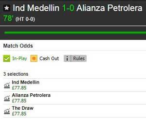Medellín v Alianza Petrolera Match Odds market on Betfair