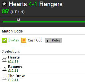 Hearts v Rangers Betfair match odds market