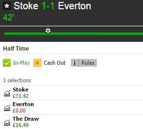 Stoke v Everton half-time market on Betfair