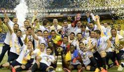 Club America celebrate their 12th Liga MX trophy back in 2014.