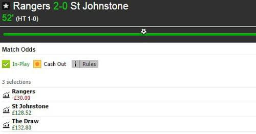 Rangers v St Johnstone Betfair Match Odds market