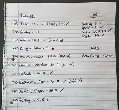 Handwritten shortlist of football trades and bets