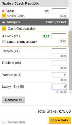 Lucky 15 bet on a betting slip
