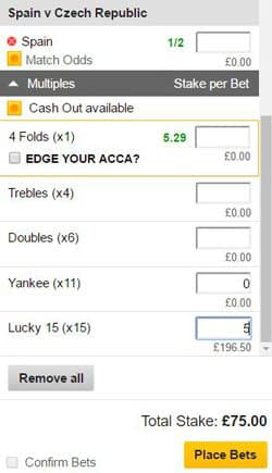 Lucky 15 bet on a betting slip