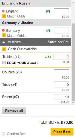 Patent bet on a betting slip