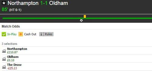 Betfair Match Odds market for Northampton Town v Oldham Athletic in the second half