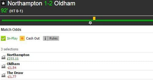 Betfair Match Odds market for Northampton Town v Oldham Athletic at full-time