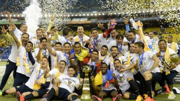 Club America celebrate their 12th Liga MX trophy back in 2014.