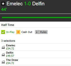 Live Stats Module example (Emelec v Delfin): Betfair profit