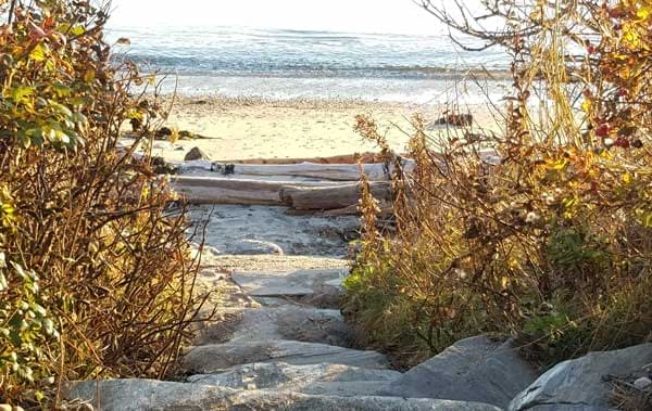 Small stone path that leads to Lands End beach on Bailey Island.