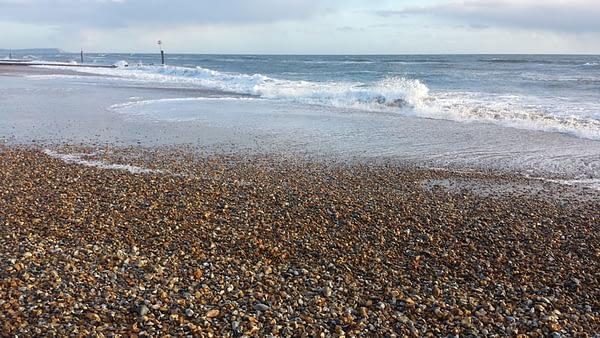 Waves crashing onto Southbourne Beach, Bournemouth