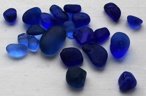 Pieces of cobalt blue sea glass