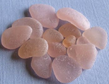 Pieces of pink sea glass
