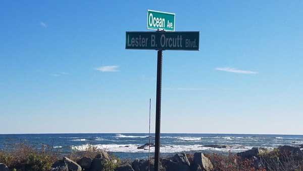 Beachfront street sign near East Point Sanctuary and East Point Beach, Biddeford, Maine.