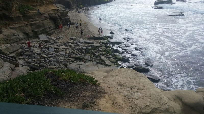 Rocks at the bottom of the staircase at Shell Beach, La Jolla