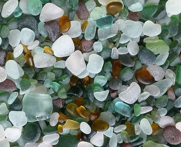 Green, aqua, blue and clear sea glass from Seaham, England.