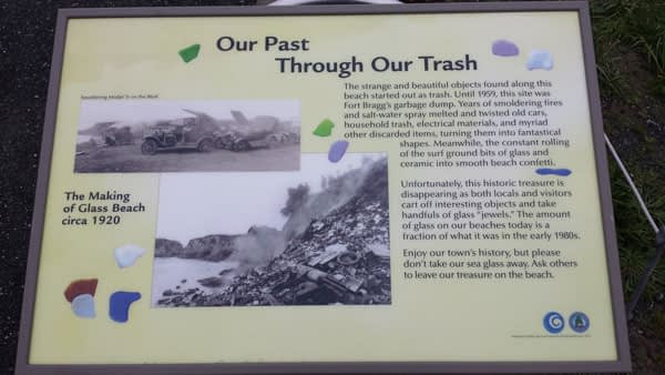 Sign at Glass Beach, Fort Bragg which tells the story of