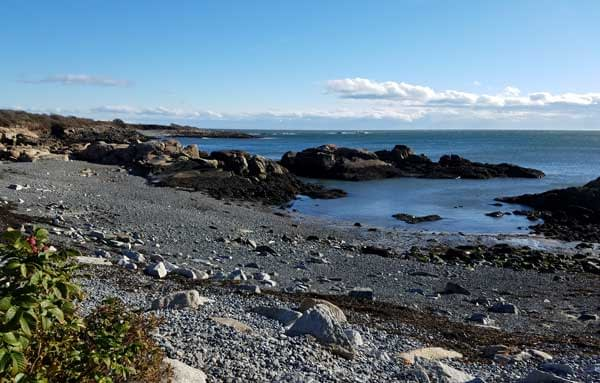 View of a rocky cove at East Point Beach, Biddeford, Maine.
