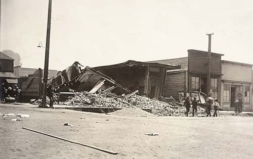 Earthquake damage to the center of Fort Bragg