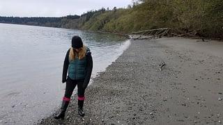 Searching for sea glass on Bush Point Beach, Whidbey Island, Washington