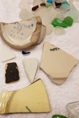 Sea glass and pottery found on the beach at Coupeville, Washington
