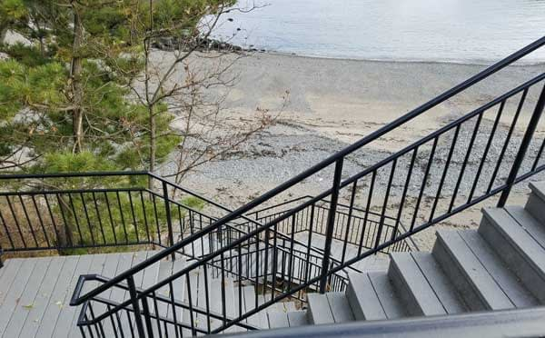 Steps down to the beach at 40 teps, Nahant, Massachusetts.