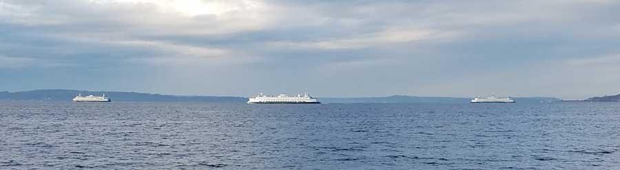 Ferries crossing Puget Sound, Washington