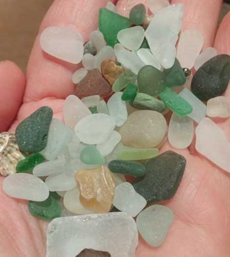 Sea glass found at Charmouth, Dorset