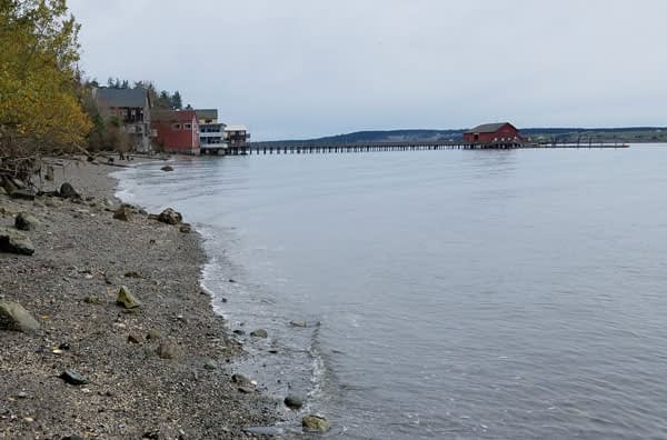 View of the beach at Coupeville's, Historic Waterfront on Whidbey Island, Washington.