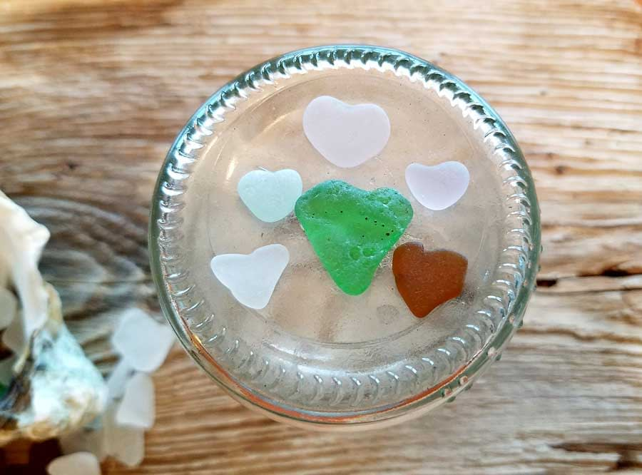 Sea glass hearts found at Bush Point Beach, Whidbey Island