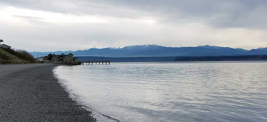 View of Olympic National Park from Bush Point Beach, Whidbey Island