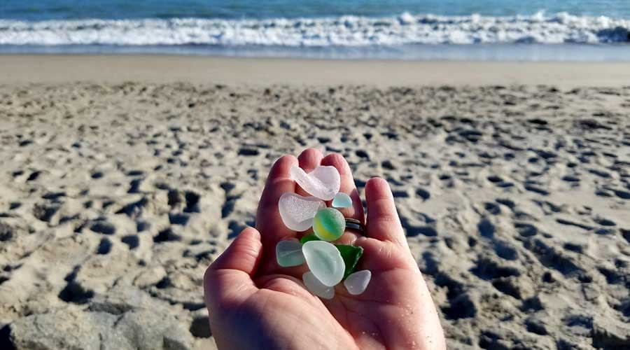 A handful of California sea glass