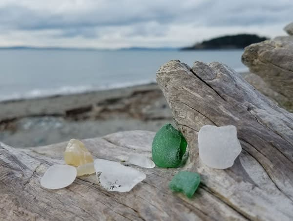 Green sea glass and white sea glass, Deception Pass, Washington State