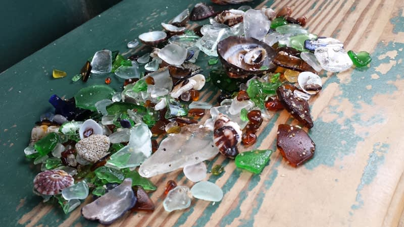 Sea glass haul collected at Shell Beach, La Jolla