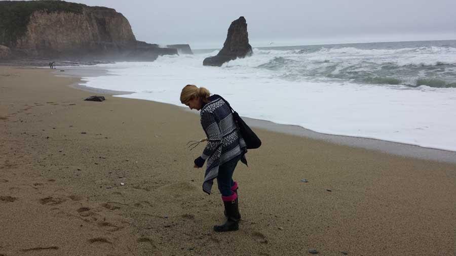 Hunting for sea glass on Davenport Beach